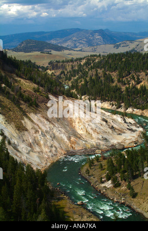 The Yellowstone River Meanders Through Narrows of the Grand Canyon with Calcite Springs Wyoming USA - Stock Photo