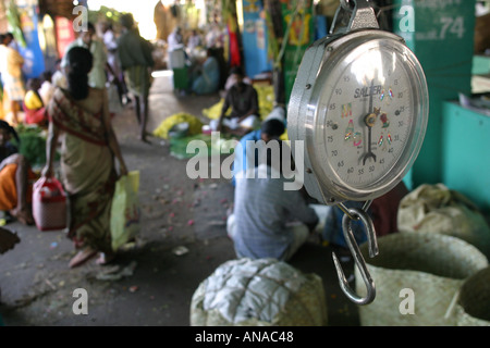 Flower market Madurai South India - Stock Photo