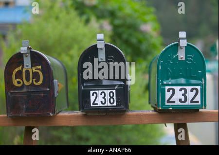 Mailboxes outside suburban homes Juneau Alaska USA - Stock Photo