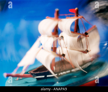 close up of ship in a bottle - Stock Photo