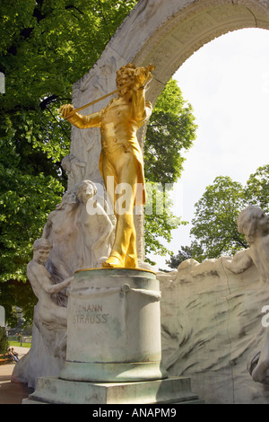 The Guilded Statue Of Johann Strauss II in Vienna Austria - Stock Photo