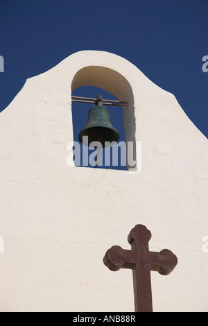 Church bell tower close to The Inland Sea, Gozo, Malta - Stock Photo