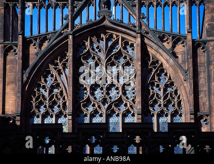 Close up shot of east window of the John Rylands Library Manchester UK - Stock Photo