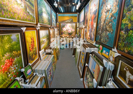 Oil Paintings at an Art Gallery Da Fen Painting Village Shenzhen China - Stock Photo