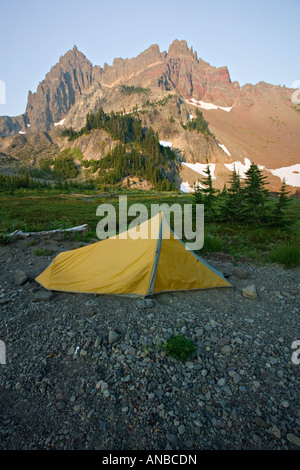 Camping at the base of Three Fingered Jack - Stock Photo