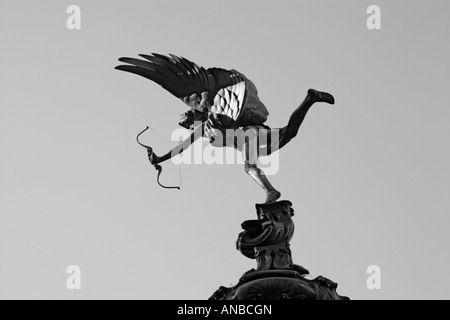 Statue of Eros in piccadilly circus in London in black and white - Stock Photo