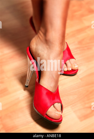 Lady in red shoes on wooden floor - Stock Photo