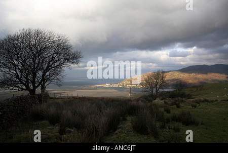 a landscape of barmouth and cardigan bay from cadir idris mountain - Stock Photo
