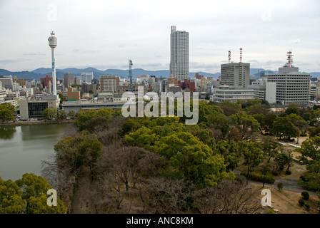 Hiroshima Japan View from top of Hiroshima castle showing modern city - Stock Photo
