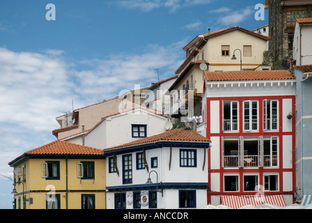 detail of fishermen's houses in the port village of Cudillero - Stock Photo