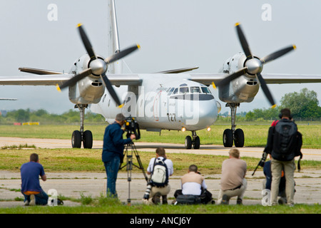 Croatian Air Force An-32B transport aircraft taxiing after landing before mass of press people, Pleso AB 'open day' - Stock Photo