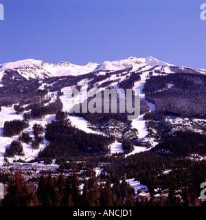 Ski Runs on Blackcomb Mountain in the Ski Resort of Whistler British Columbia Canada - Stock Photo