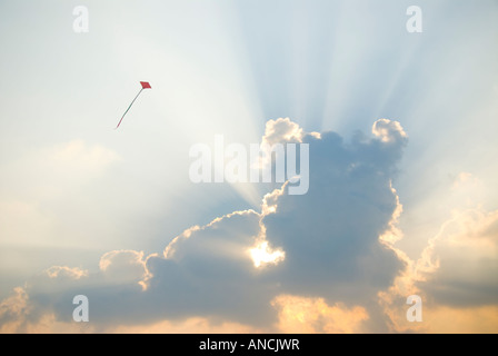 A red kite flying in front of a cloud - Stock Photo