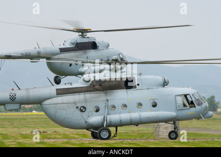 Croatian Air Force Mi-8 MTV-1 helicopters taking off - Stock Photo