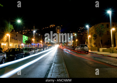 Bahai shrine on Mount Carmel, Israel, night scene. View from the west. - Stock Photo