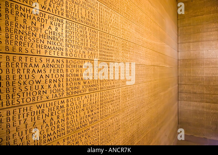 Names of German soldiers killed at Ypres carved in oak panels at Deutscher Soldatenfriedhof German war cemetery - Stock Photo