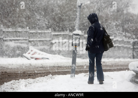 woman carrying bag and wearing coat walks towards snow covered pedestrian crossing in heavy snowstorm - Stock Photo