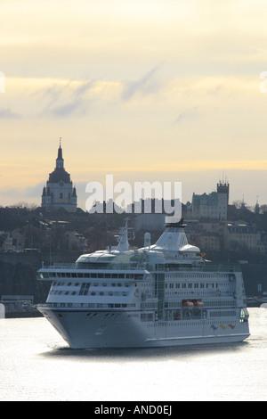 Birka Lines MV Birka Paradise departs Stockholm. - Stock Photo