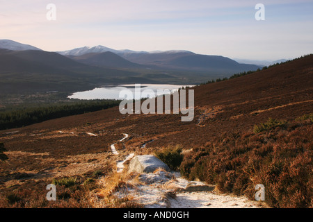 Loch Morlich from the Track on the Southern Slope of Meall a Bhuachaille Cairngroms Scotland - Stock Photo