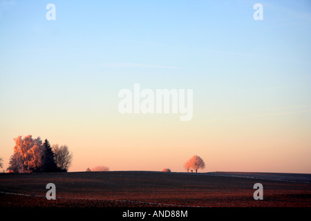 early morning winter landscape in Bavaria Germany Europe - Stock Photo