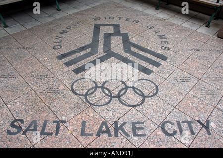Olympic mural on a pavement, Salt Lake City, USA - Stock Photo
