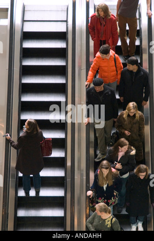 Escalators at the Time Warner Center in New York City - Stock Photo