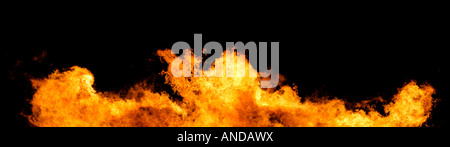Massive wall of fire and flames on a black background Huge XXL file - Stock Photo