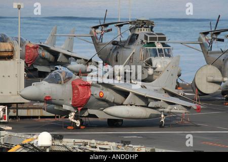 A Spanish Navy EAV-8B+ Harrier on board the aircraft carrier Principe de Asturias - Stock Photo