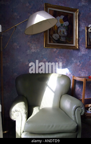 Green armchair purple tapestry - Stock Photo