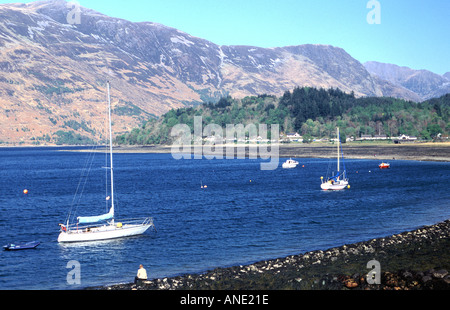Sailing boats anchored in Loch Leven near Glencoe in western Highland Scotland - Stock Photo