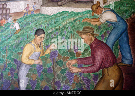 Fresco murals painted inside coit tower san francisco for Coit tower mural artists