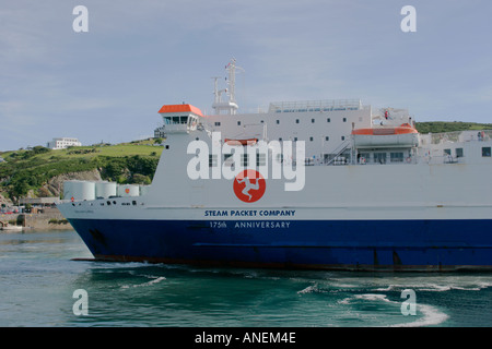 Isle of Man Steam Packet Company ferry Ben My Chree entering harbour at Douglas on the Isle of Man - Stock Photo