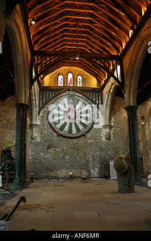 King Arthur's Round Table in Winchester Castle's Great Hall - Stock Photo