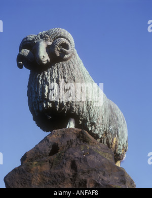 Statue of a ram Colvin Fountain Moffat Dumfries and Galloway Scotland - Stock Photo