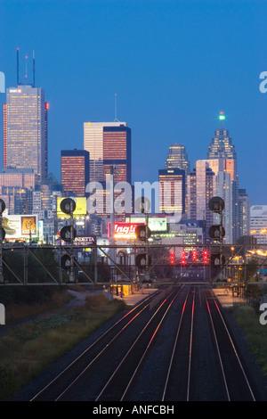 View of Toronto skyline from above railroad, Toronto, Ontario, Canada. - Stock Photo