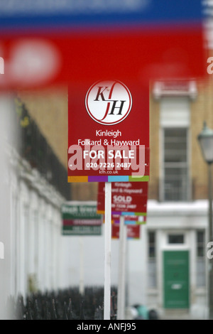 Estate Agents Sales Signs London - Stock Photo