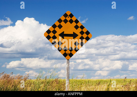 traffic sign, rural Saskatchewan, canada. - Stock Photo