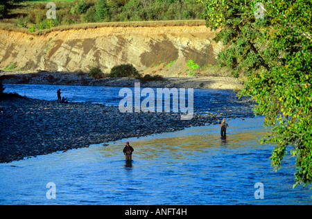 Fly fishing for salmon on Margaree River, Cape Breton, Nova Scotia, Canada. - Stock Photo