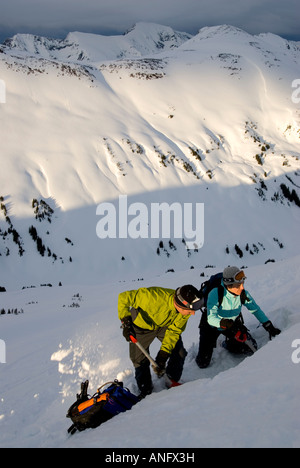 Male and female skiers testing snow slope for avalanche safety, MacGillivray Pass, Coast Mountains, British Columbia, - Stock Photo