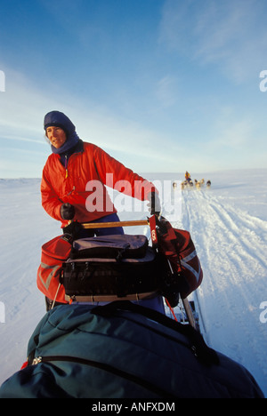 Young woman drives dogsled team across Meta Incognita Penninsula in early May, Baffin Island, Nunavut, Canada. - Stock Photo