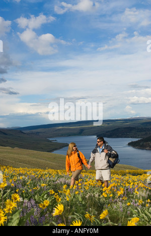 A young couple enjoys a romantic walk through wildflowers in full bloom over Stump Lake, just South of Kamloops, - Stock Photo