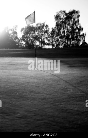 Flag on golf course blowing in wind - shot in black and white - Stock Photo