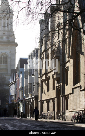 View along Turl street , Oxford, with Lincoln College Spire in the background - Stock Photo