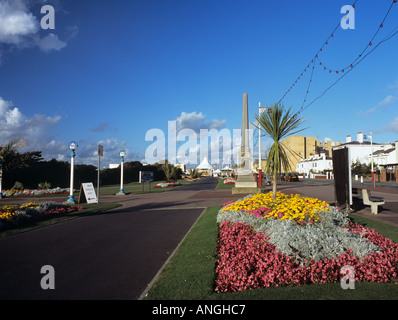 SEAFRONT PROMENADE lined with floral gardens Southport Merseyside England UK - Stock Photo