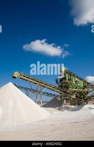 QUARRYING Stone Crusher Conveyor Belt, Machine at building stone Quarry in Androlikou, Polis, Cyprus, EU - Stock Photo