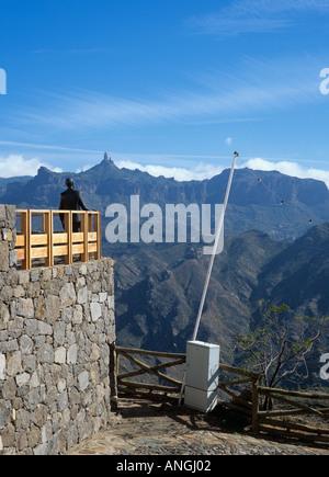 STATUE and VIEWPOINT towards Roque Nublo Artenara Gran Canaria Spain - Stock Photo
