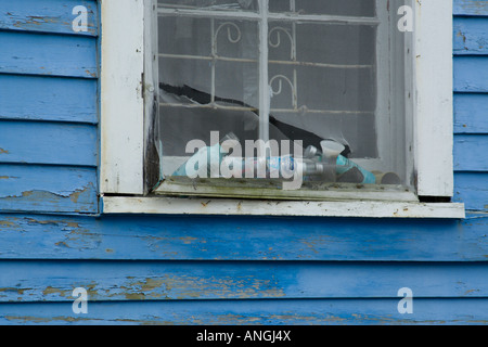 Old window in New Orleans Lower Ninth 9th ward - Stock Photo