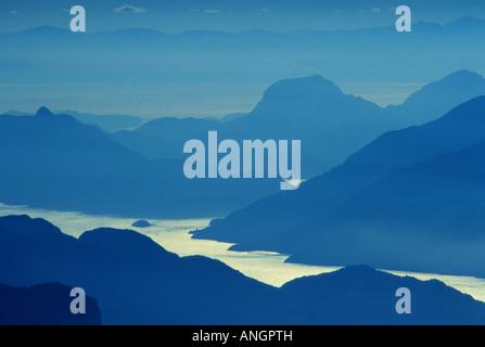 View of Howe Sound from near Elfin Lake in Garibaldi Provincial Park, British Columbia, Canada. - Stock Photo