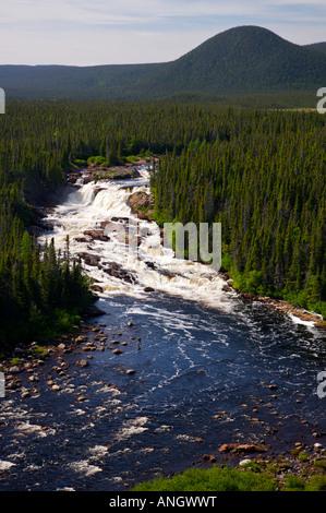 Aerial view of White Bear River Falls in Southern Labrador, Newfoundland & Labrador, Canada. - Stock Photo