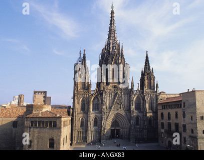 Spain Barcelona Catalunya The Cathedral or La Seu in the Afternoon Barrio Gotico - Stock Photo
